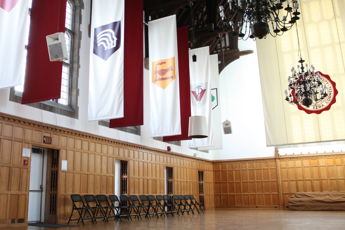 The Willard Straight Hall Memorial Room sits empty. Disrupted by a postponement, a re-vote and a pandemic, this year's Student Assembly election only engaged 16.85 percent of eligible voters.