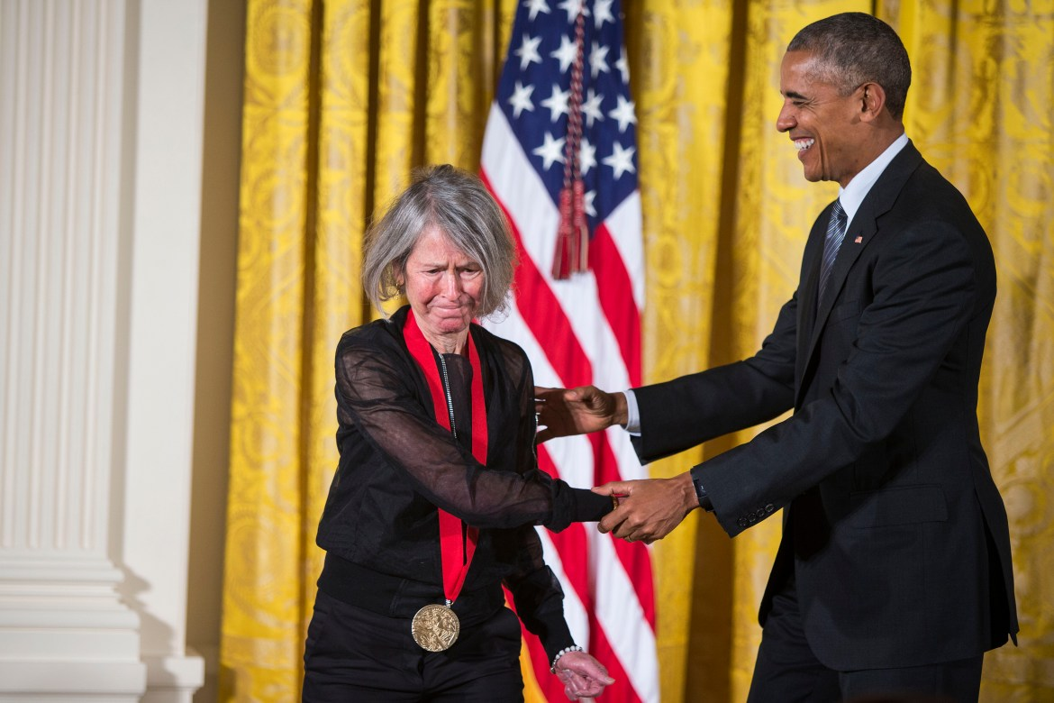 President Barack Obama presents the poet Louise Gluck with the National Humanities Medal during a ceremony at the White House in Washington, Sept. 22, 2016.