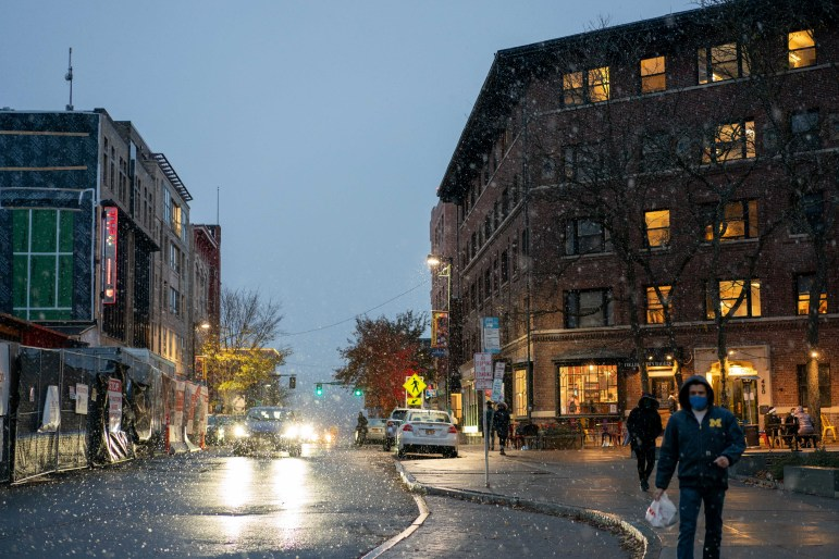 Ithaca saw a dusting of snow on Monday, the night before Election Day.