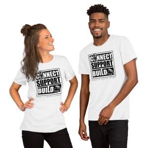 Connect | Support | Build Unisex T-Shirt (Bella + Canvas 3001) (Light Color)