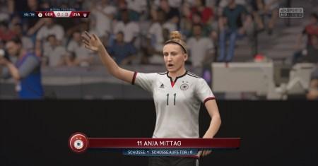 FIFA16 Screenshot: Anja Mittag noch ohne Tattoo