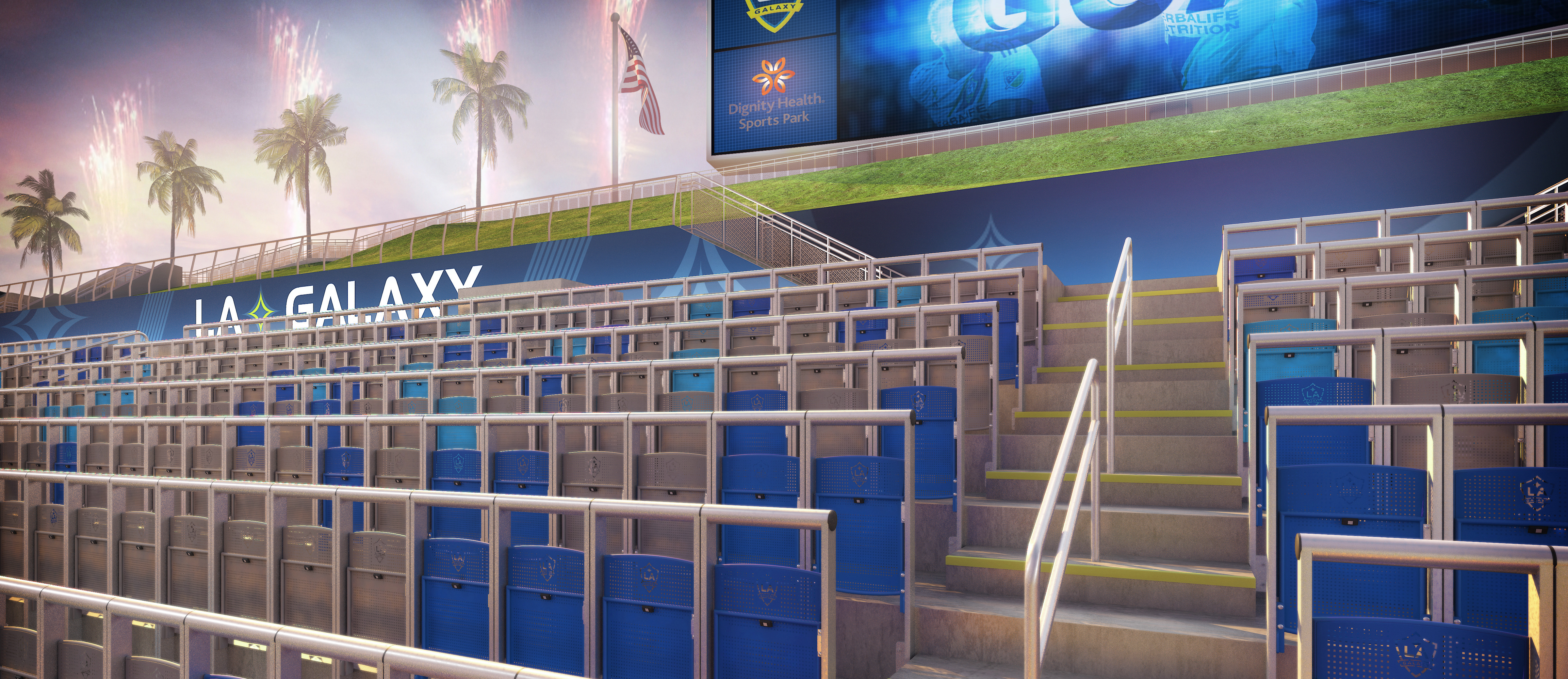 New safe-standing sections will be installed at Dignity Health Sports Park for the 2020 MLS Season - Rendering courtesy of the LA Galaxy