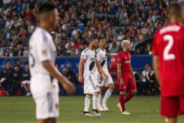 Efrain Alvarez, Perry Kitchen, and Giancarlo Gonzalez all play for the LA Galaxy against Toronto FC on July 4, 2019 -- Photo by Brittany Campbell