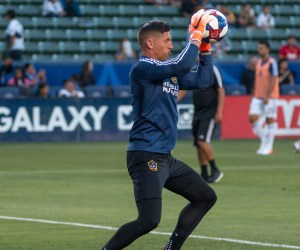 David Bingham warms up for the LA Galaxy on 7.12.19 -- Photo by Brittany Campbell