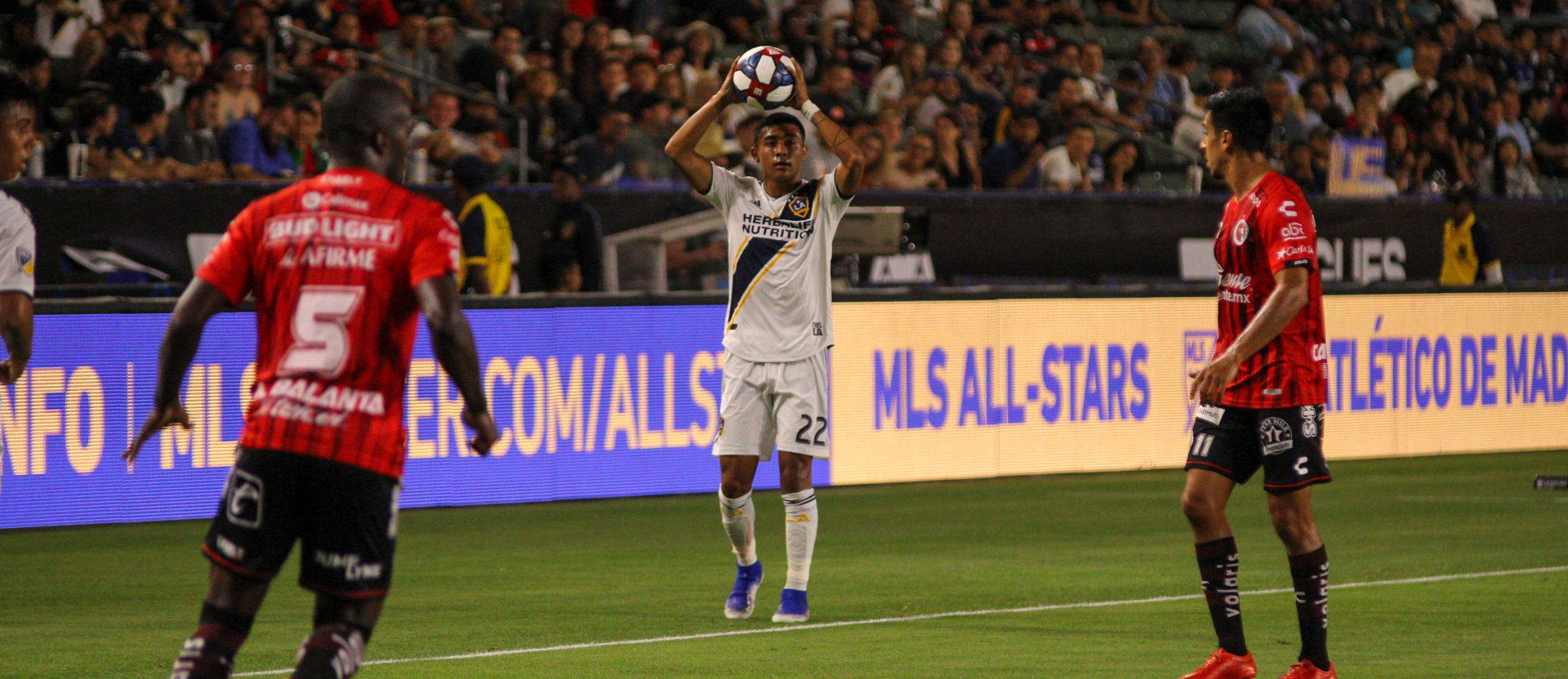 Julian Araujo takes a throw in playing for the LA Galaxy on 7.23.19 - Photo by Brittany Campbell