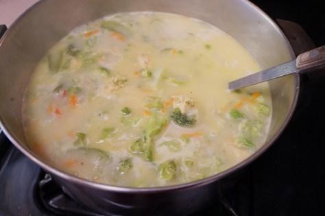 Cheesy Chicken Veggie Soup