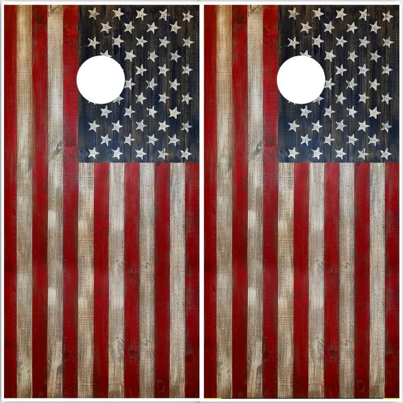 American Flag on Wood cornhole wrap - vinyl decal sheets