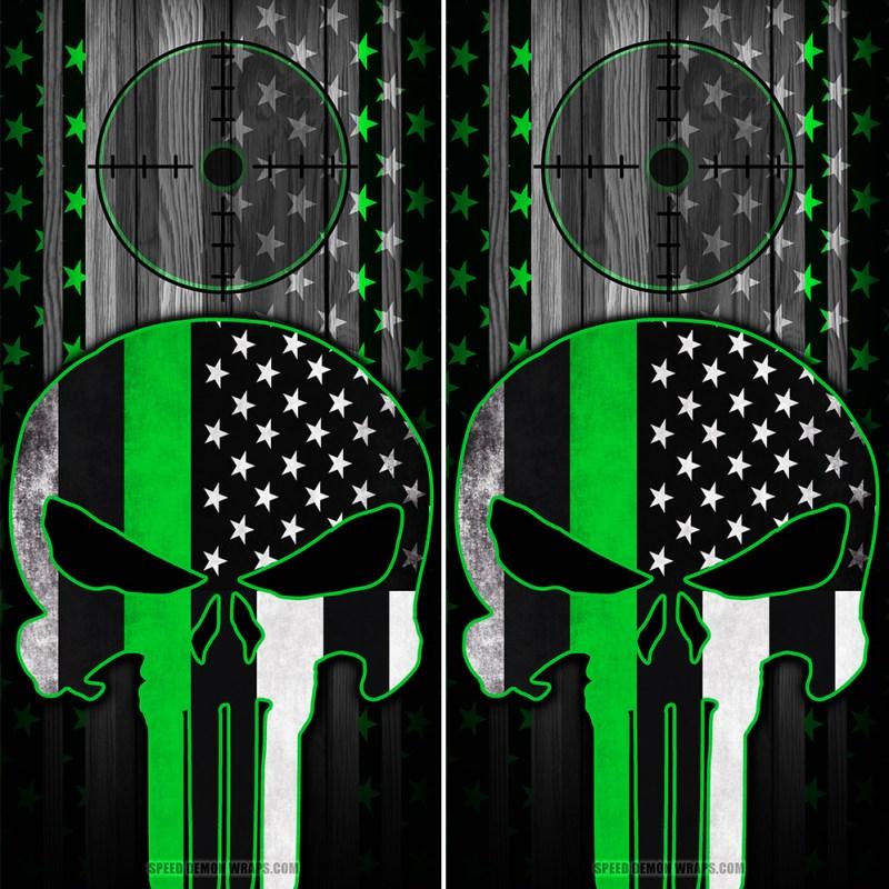 Punisher Green line Cornhole Wrap