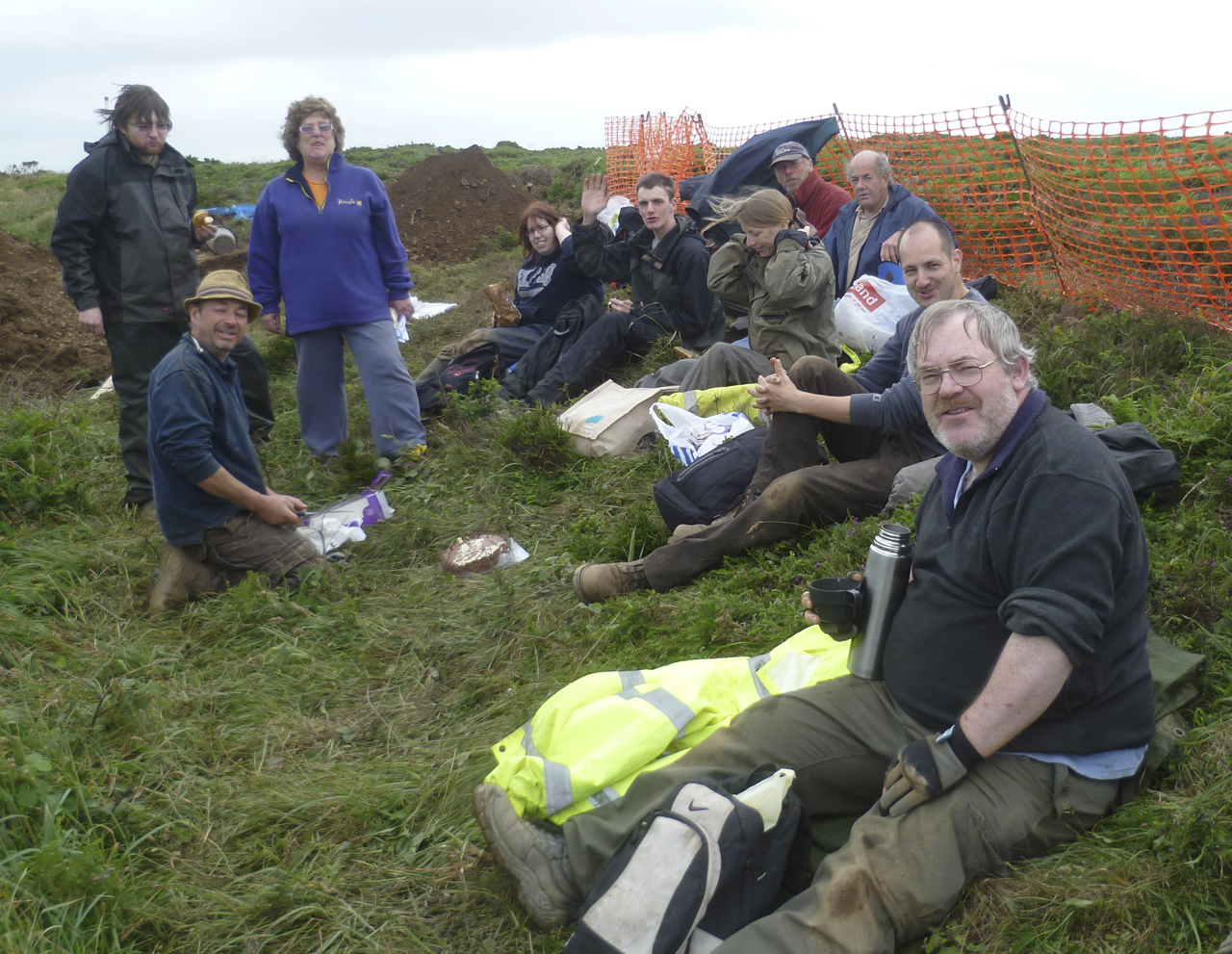 CAS Members take a break from digging at Crane Castle June 2012