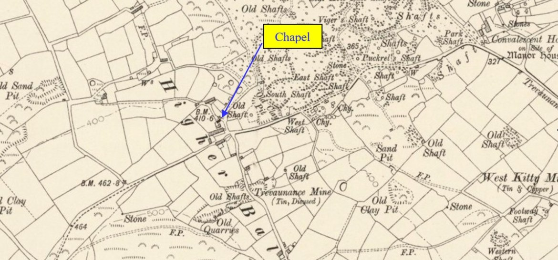 Old Map Identifying Chapel near Trevaunance Mine