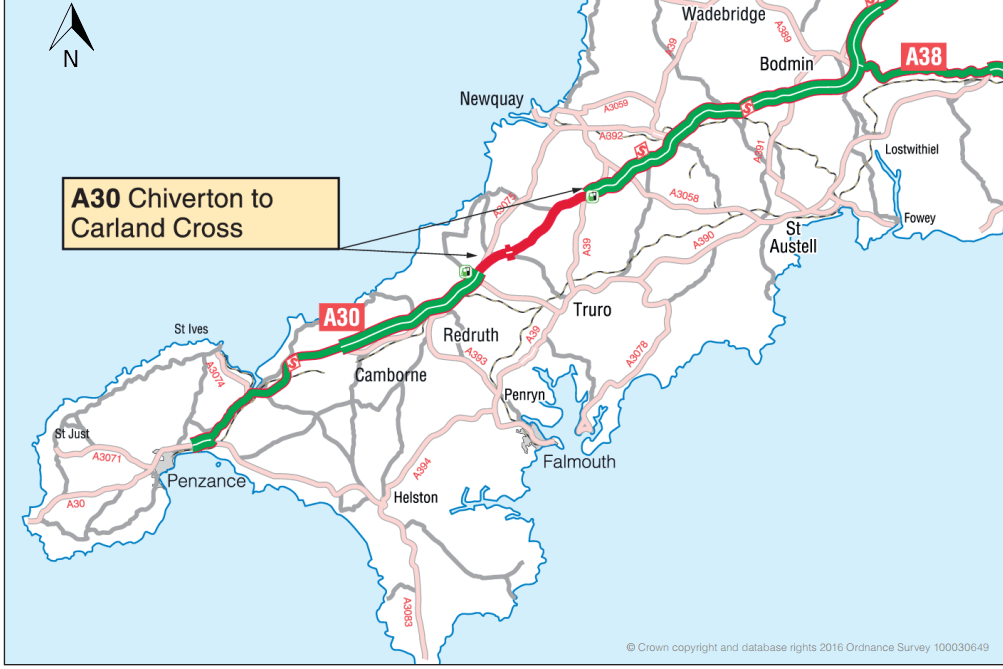 Plans to upgrade the A30 in Cornwall to go on public display
