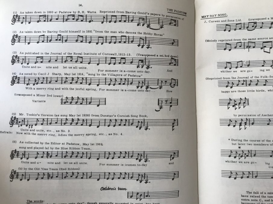 Printed music and annotations.