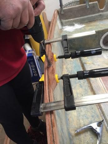 Drilling the rowlock hole