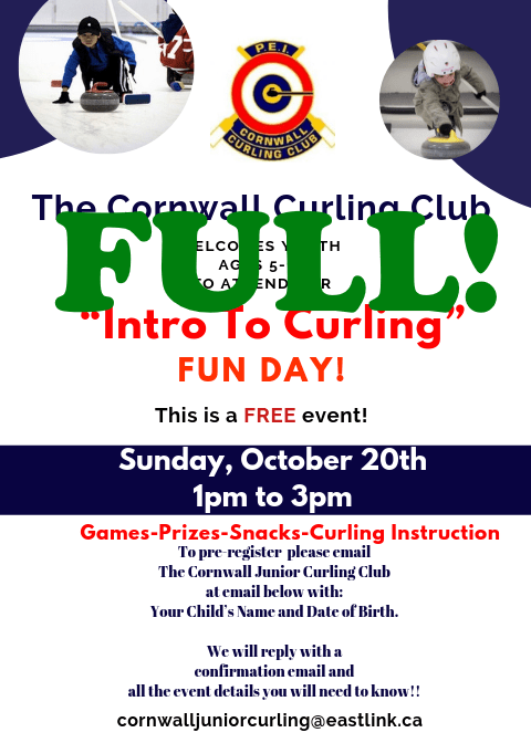 Free Cornwall Junior Intro to Curling Fun Day on Oct. 20 (FULL) @ Cornwall Curling Club