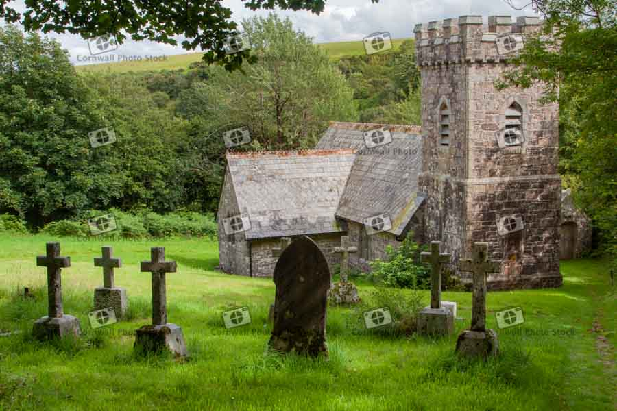 Templar Church On Bodmin Moor With Gravestones In Foreground