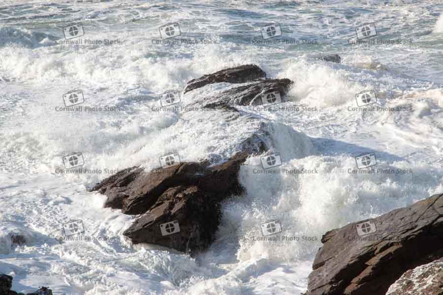 Sea Breaking Over Rocks II