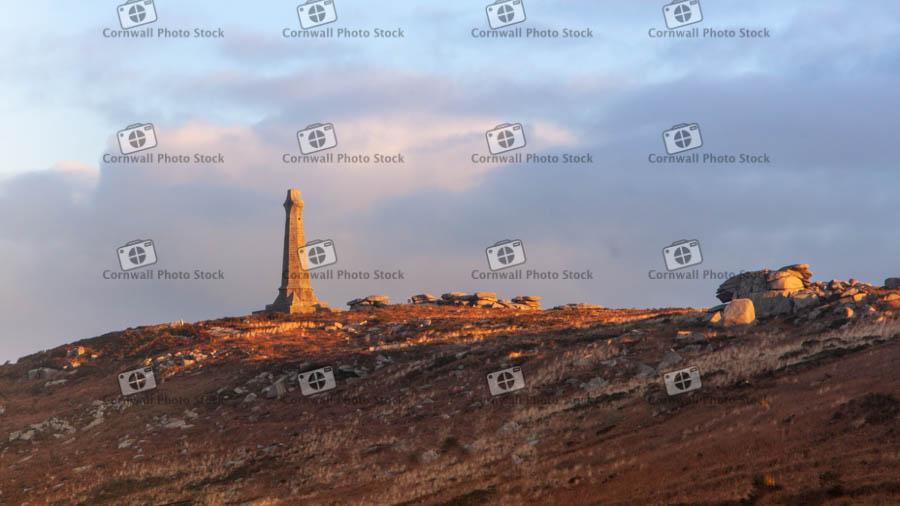 Carn Brea Monument In Evening Sunlight