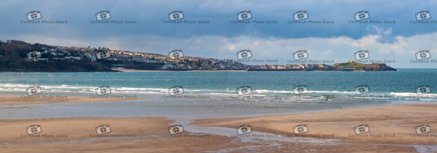St Ives With Hayle Beach In Foreground Panorama