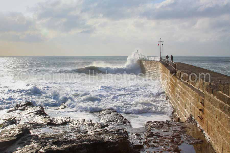 Porthleven Harbour Wall With Wave Breaking