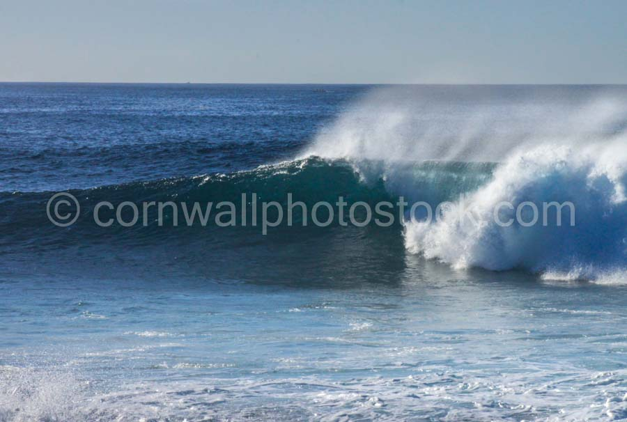 Powerful Breaking Wave With Offshore Spray