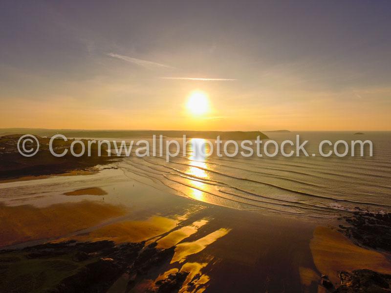 Polzeath Beach Sunset Aerial