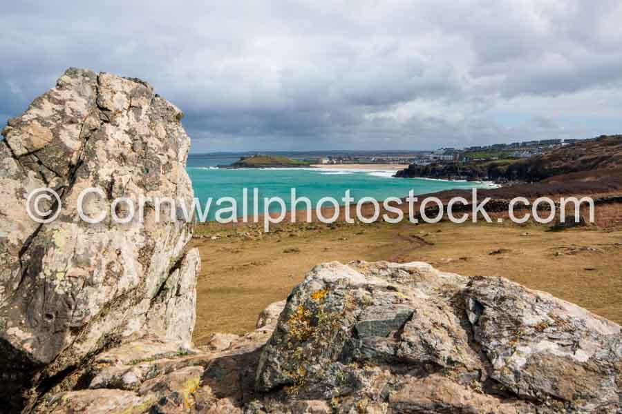 Distant Porthmeor Beach With Foreground Rocks