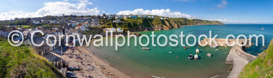 Gorran Haven Harbour And Beach Panoramic