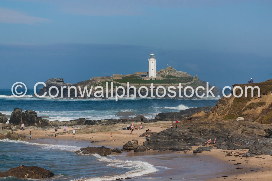 Godrevy Lighthouse With Beach In Foreground