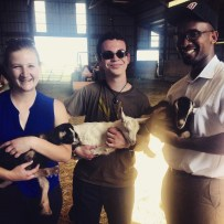 Sarah, Aidan, Greg, and goats