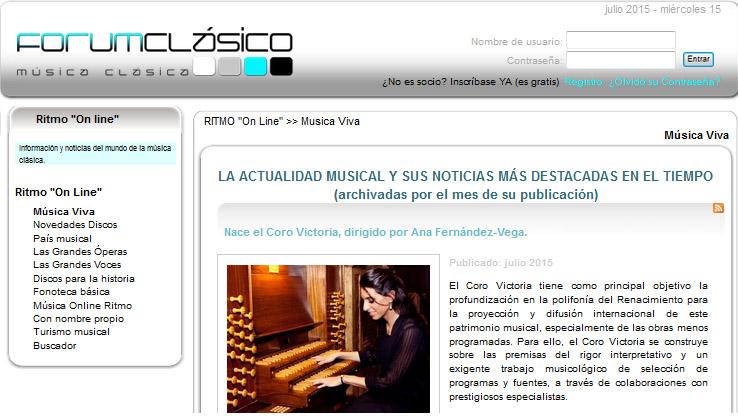 Actualidad musical en ForumClásico (Revista Ritmo): el Coro Victoria