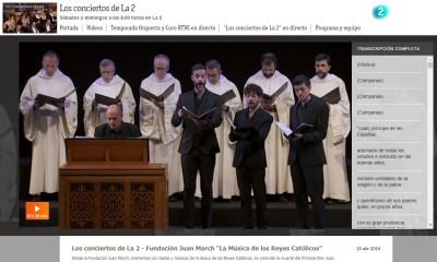 Retransmisión de «La Música de los Reyes Católicos» en Los Conciertos de La 2