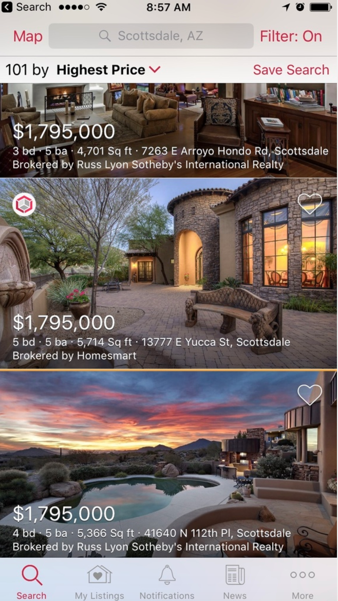 The mobile view will show the 3D icon in the top left corner of the listing.