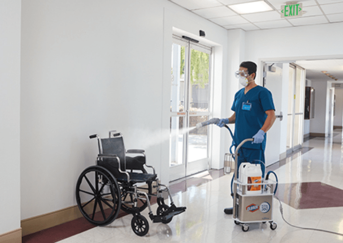 total disinfection of hospital wheelchairs