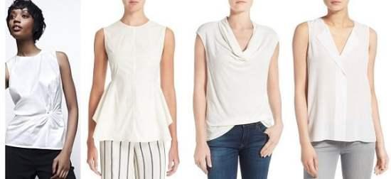white sleeveless shell for work