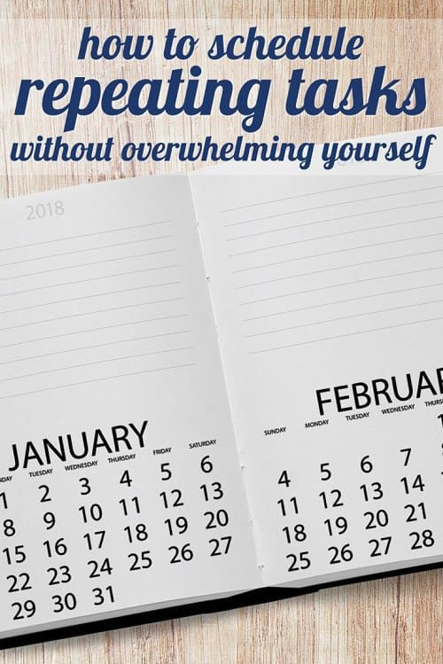 Kat has wondered how to schedule repeating tasks without overwhelming yourself -- you know, those regular tasks you do yearly (or less) that wouldn't be a problem if you did them regularly -- but Kat wants to do them all in January. So we asked the readers: what are your best systems for scheduling repeating tasks? What do you do monthly, quarterly, or yearly?