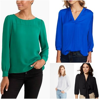 collage of four modern blouses for suits