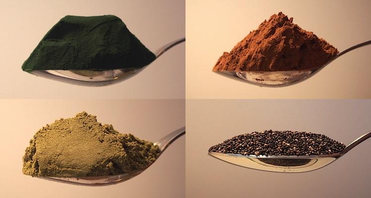 poids ingrédients cuillère spiruline chia caroube maca