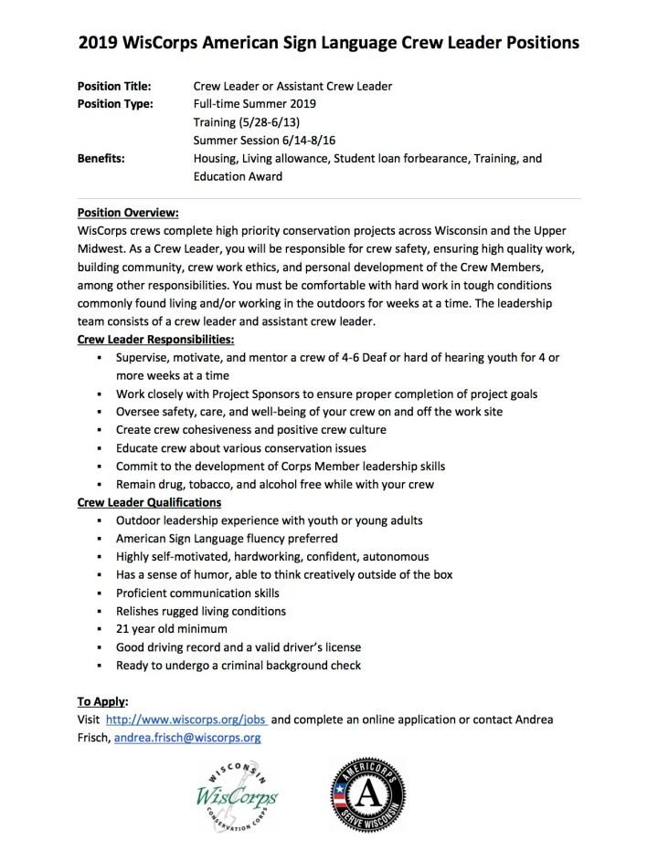 ASL Crew Leadership Position Description