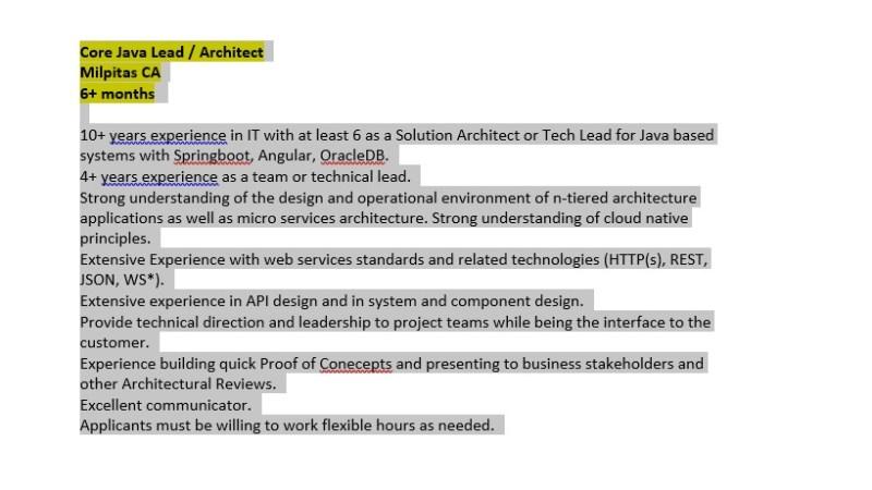 Core Java Lead / Architect
