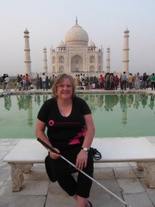 Julie Woods on the Diana seat at Taj Mahal