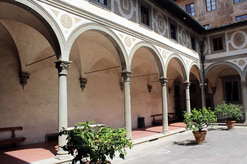 The inner courtyard of the hospital.