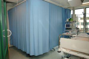 blue hospital curtain