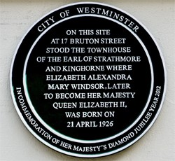 plaque, birth place of queen