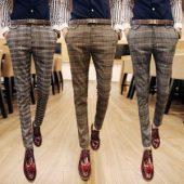pantaloni uomo, eleganti, a quadri, marroni, grigi