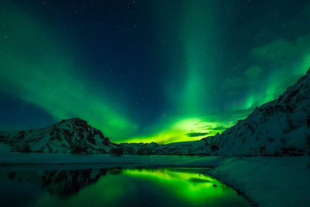 A stunning view of Aurora Borealis in Iceland.