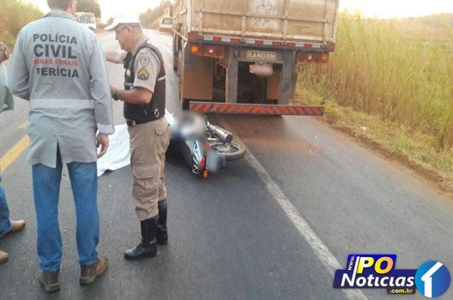 Motociclista morre após colidir com carreta parada na rodovia próximo a Presidente Olegário