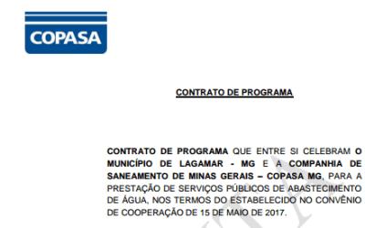 Veja aqui a minuta do contrato entre a Copasa e a Prefeitura de Lagamar