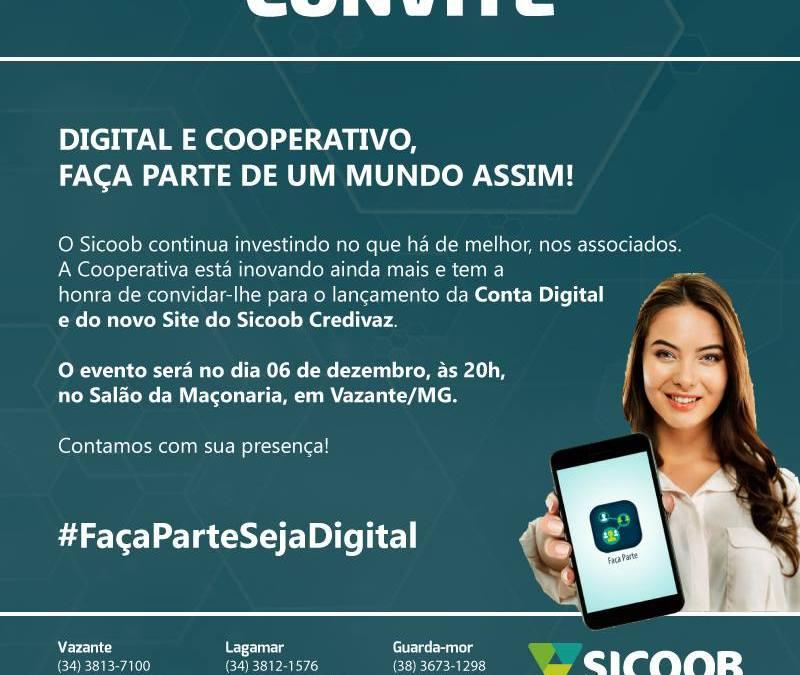 Sicoob Credivaz promoverá evento de lançamento do novo site e conta digital nesta quarta-feira, 06