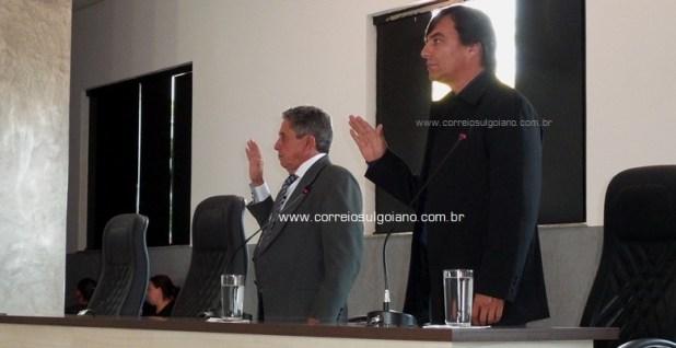 Fala Grossa e Mané Branco são empossados na Câmara Municipal de Morrinhos