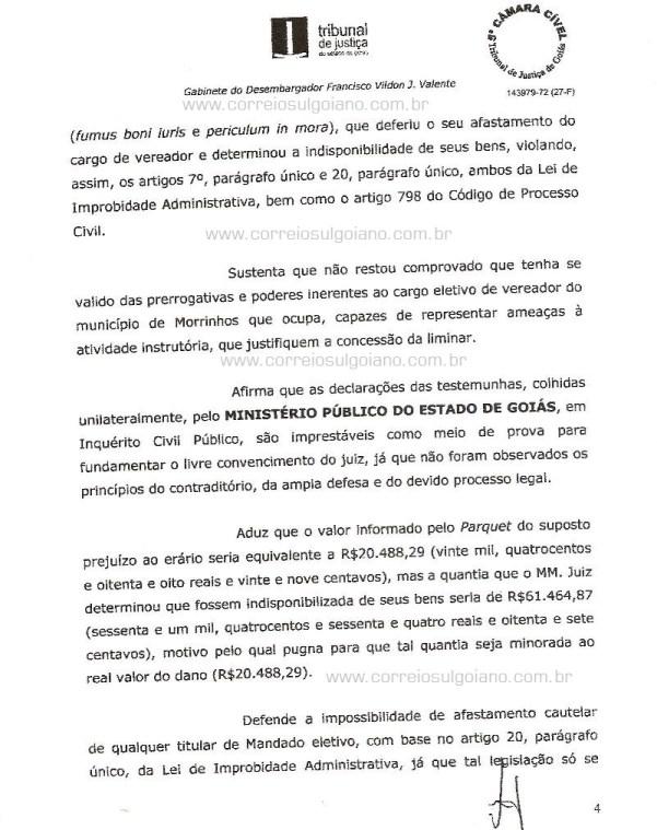 Página 04 do Relatório e Voto dos desembargadores do TJ/GO
